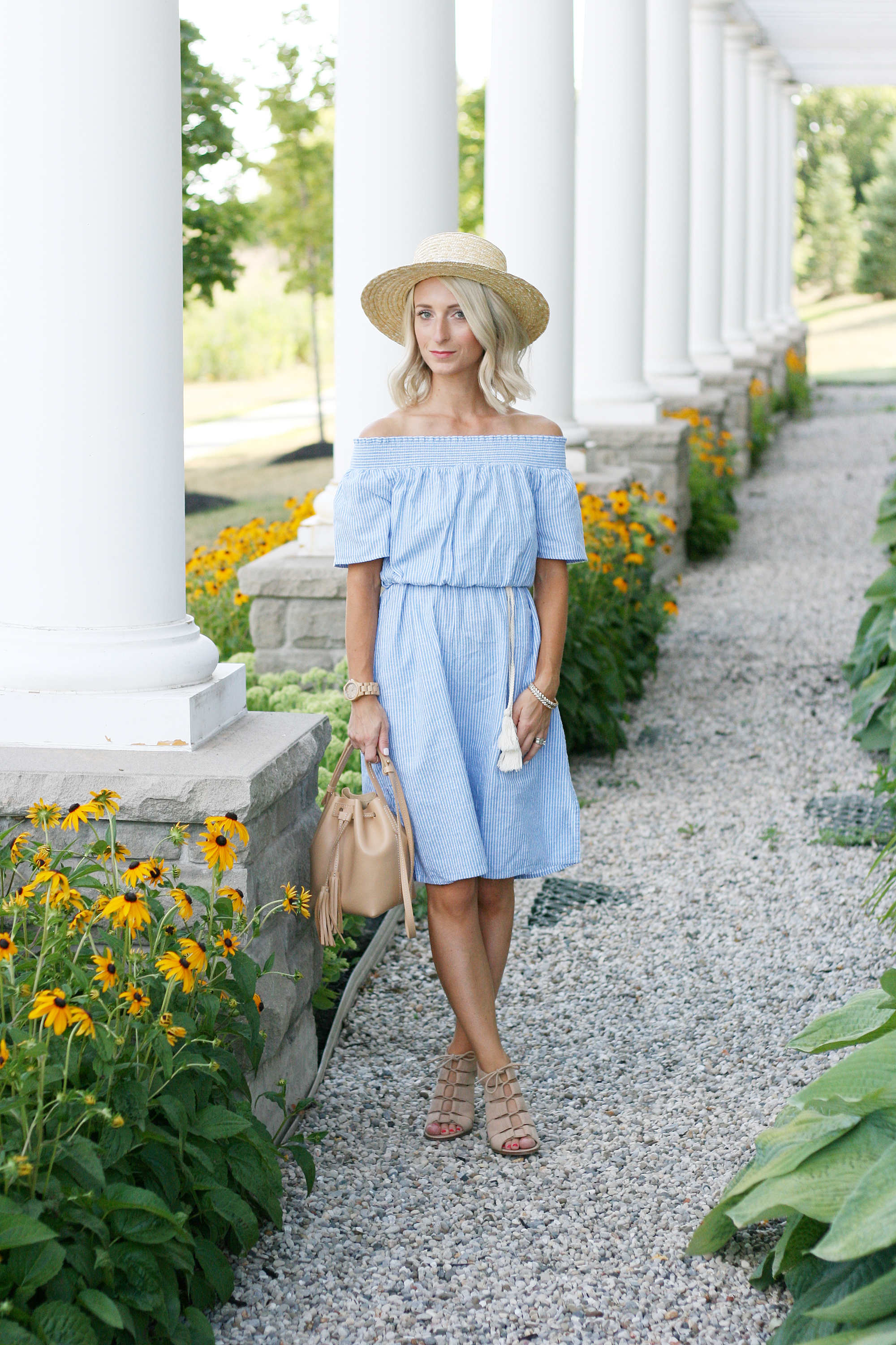 blue off the shoulder SheIn summer dress