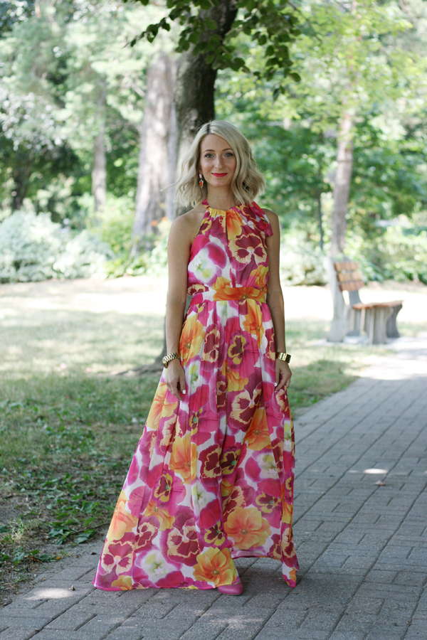 pink flowing high neck summer dress