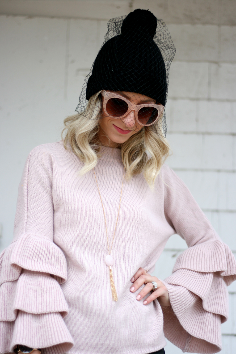 pink bell sleeve sweater
