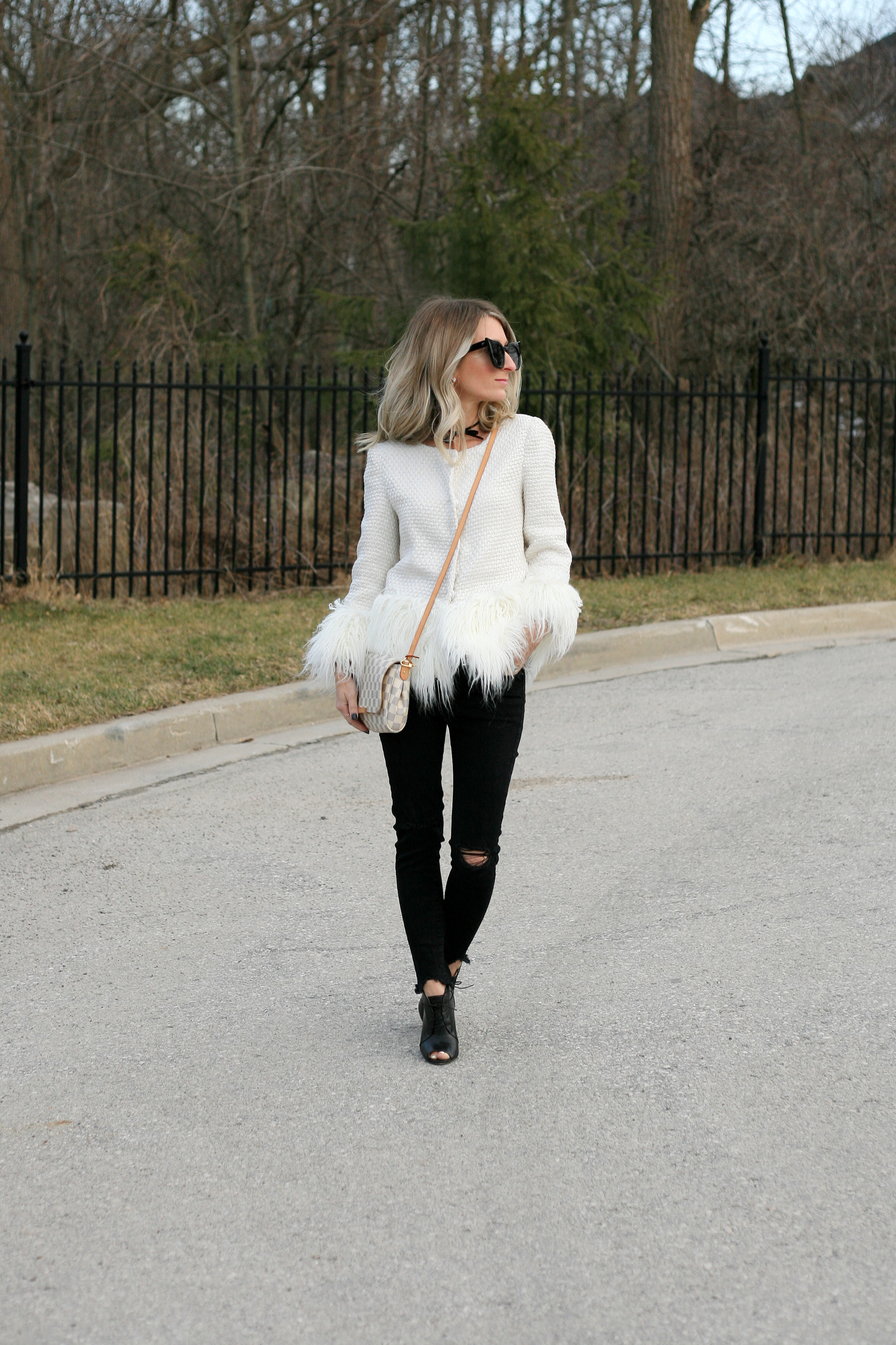 white furry jacket