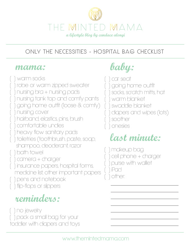 diaper bag checklist pdf  PACKING YOUR HOSPITAL BAG   PRINTABLE CHECKLIST – The Minted Mama
